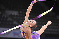 September 05, 2015 - Stuttgart, Germany - JAZZY KERBER  of USA performs with ribbon in training at 2015 World Championships.
