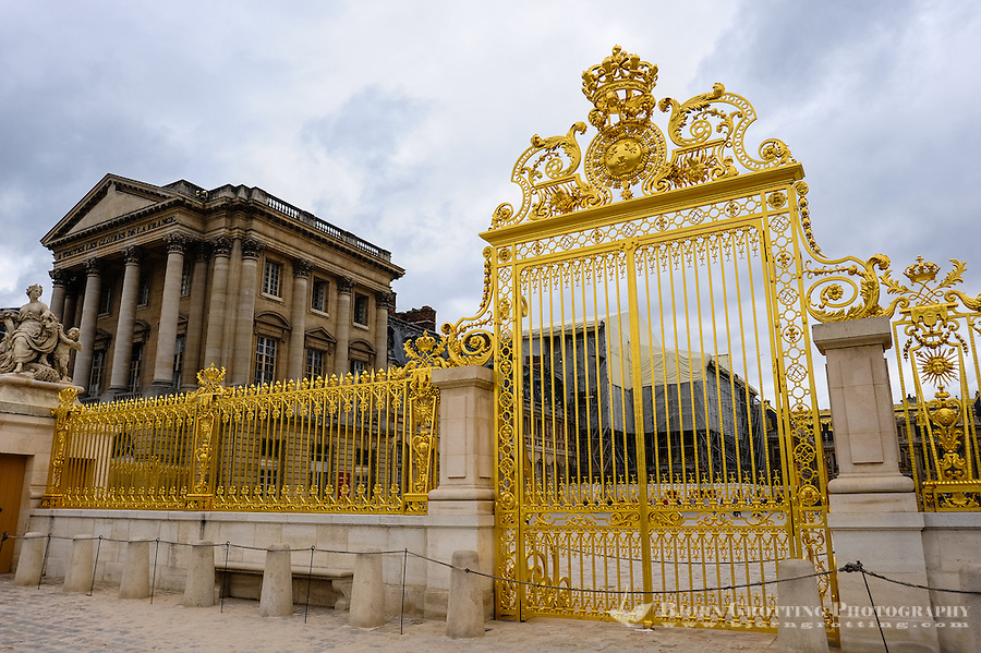 The Palace of Versailles, or simply Versailles, is a royal château close to Paris, France. Pavillon Gabriel in the background.