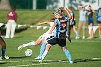 Kansas City, MO - Sunday September 11, 2016: Julie Johnston, Heather O'Reilly during a regular season National Women's Soccer League (NWSL) match between FC Kansas City and the Chicago Red Stars at Swope Soccer Village.