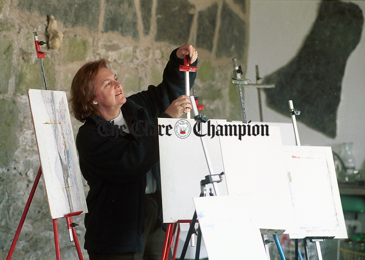 Chris O Neill prepares the easels for another season at the Burren Painting Centre.