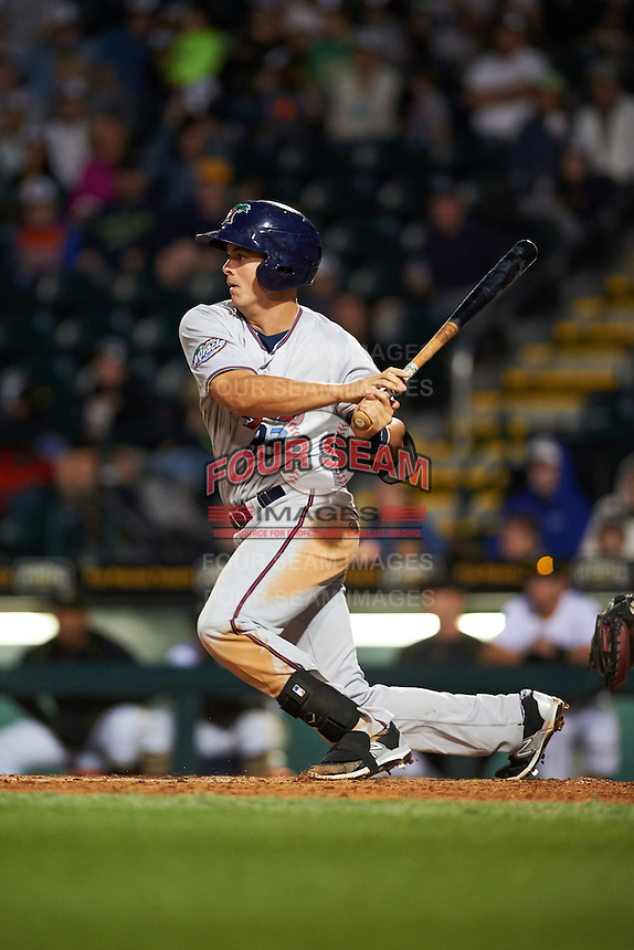 Fort Myers Miracle first baseman Trey Vavra (33) at bat during a game against the Bradenton Marauders on April 9, 2016 at McKechnie Field in Bradenton, Florida.  Fort Myers defeated Bradenton 5-1.  (Mike Janes/Four Seam Images)