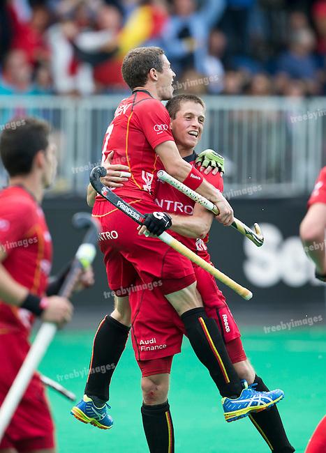 21/06/2015<br /> HWL Semi Final Antwerp Belgium 2015<br /> Great Britain v Belgium Men<br /> John John Dohmen and Jerome Truyens celebrate a goal<br /> Photo: Grant Treeby