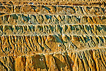 Erosion down the sides of copper mining tailings heaps from the Liberty Pit, Ruth, Nev.