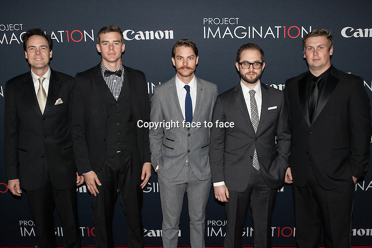 NEW YORK, NY - OCTOBER 24, 2013: Kalman Apple, Jared Nelson, Ronnie Allman, Julian Higgins and Arrius Sorbonne <br />