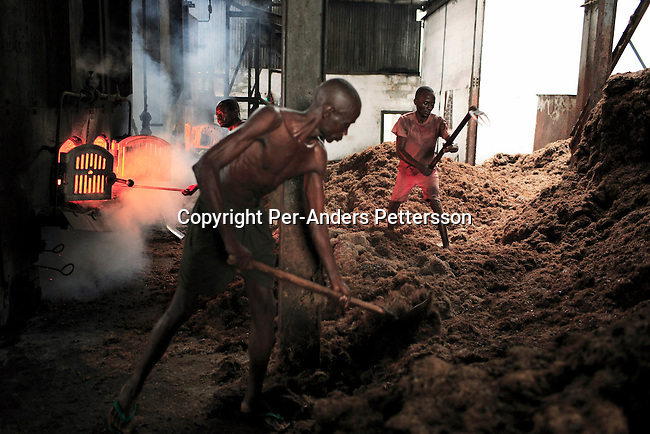 LUKUTU, DEMOCRATIC REPUBLIC OF CONGO MARCH 17: Unidentified men through in waste in a fire on March 17, 2006 in Lukutu, Congo, DRC. The steam engines run most of the palm oil factory in this small village along the Congo River, about 1500 kilometers from Kinshasa, the capital. The factory is a big producer of palm oil, which is used for cooking. The Belgians built the factory in 1911 and it was closed during the recent civil war. About 10,000 people are dependent on the factory, the only one in the area. Congo River is a lifeline for millions of people, who depend on it for transport and trade. During the Mobuto era, big boats run by the state company ONATRA dominated the traffic on the river. These boats had cabins and restaurants etc. All the boats are now private and are mainly barges that transport goods. The crews sell tickets to passengers who travel in very bad conditions, mixing passengers with animals, goods and only about two toilets for five hundred passengers. The conditions on the boats often resemble conditions in a refugee camp. Congo is planning to hold general elections by July 2006, the first democratic elections in forty years. (Photo by Per-Anders Pettersson)...