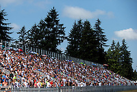 Aug. 4, 2013; Kent, WA, USA: NHRA fans in the grandstands during the Northwest Nationals at Pacific Raceways. Mandatory Credit: Mark J. Rebilas-USA TODAY Sports
