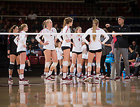 STANFORD, CA - December 1, 2018: Kevin Hambly, Jenna Gray, Meghan McClure, Holly Campbell, Kathryn Plummer, Kate Formico, Morgan Hentz at Maples Pavilion. The Stanford Cardinal defeated Loyola Marymount 25-20, 25-15, 25-17 in the second round of the NCAA tournament.