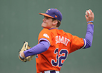 Starting pitcher Clate Schmidt (32) of the Clemson Tigers prior to a game against the South Carolina Gamecocks on Saturday, March 2, 2013, at Fluor Field at the West End in Greenville, South Carolina. Clemson won the Reedy River Rivalry game 6-3. (Tom Priddy/Four Seam Images)