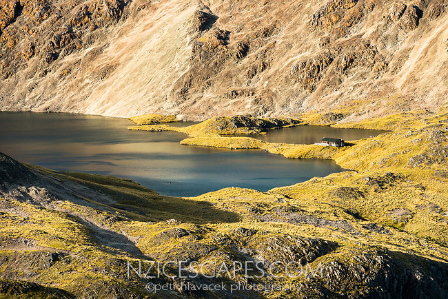 Lake Angelus and Angelus Hut, Nelson Lakes National Park, South Island, New Zealand, NZ