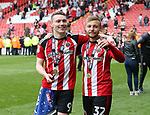 Sheffield United's Caolan Lavery and Harry Chapman celebrate during the League One match at Bramall Lane, Sheffield. Picture date: April 30th, 2017. Pic David Klein/Sportimage