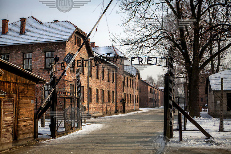 "The words 'Arbeit macht frei' ('Work makes free"") over the gate to the Auschwitz-Birkenau Nazi concentration camp. It is estimated that between 1.1 and 1.5 million Jews, Poles, Roma and others were killed in Auschwitz-Birkenau during the Holocaust between 1940-1945. 27 January 2015 is the 70th anniversary of the liberation of Auschwitz-Birkenau."