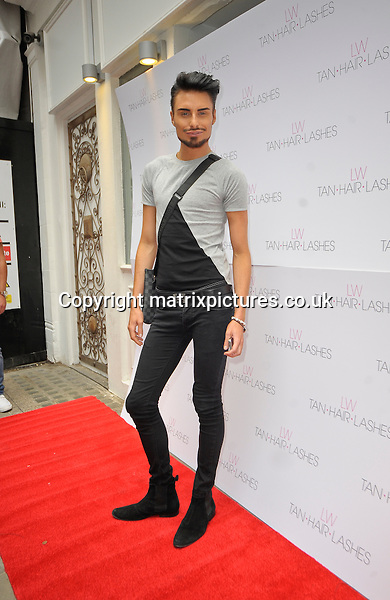 """NON EXCLUSIVE  PICTURE: MATRIXPICTURES.CO.UK.PLEASE CREDIT ALL USES..WORLD RIGHTS..English reality TV star Rylan Clark is pictured attending the launch of the """"Lauren's Way"""" range of fake tan, eyelashes and hair products in London. ..MAY 8th 2013..REF: PSE 133063"""