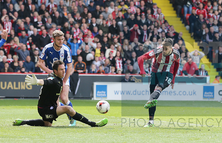 Sheffield United's Kieron Freeman scoring his sides opening goal during the League One match at Bramall Lane, Sheffield. Picture date: April 30th, 2017. Pic David Klein/Sportimage
