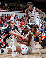 STANFORD, CA - January 7, 2012: Stanford Cardinal's Nnemkadi Ogwumike and Chiney Ogwumike during Stanford's 67-60 victory over Oregon State at Maples Pavilion in Stanford, California.