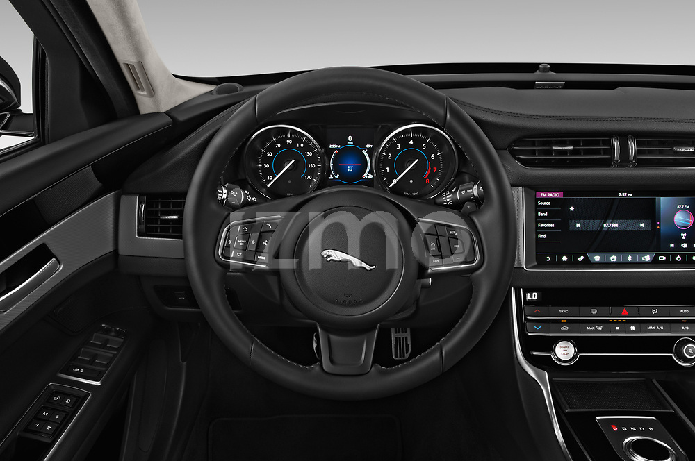 Car pictures of steering wheel view of a 2019 Jaguar XF Premium 4 Door Sedan
