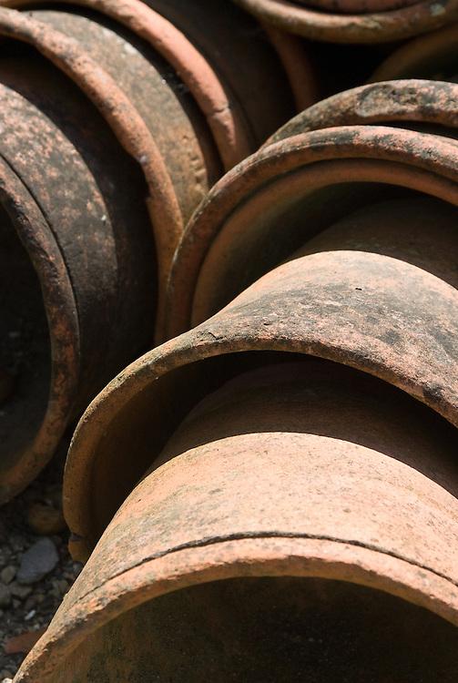 Old terracotta flowerpots.