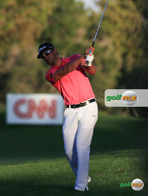 Rafa Cabrera-Bello (ESP) in action during Round Two (Pink Friday) of the 2016 Omega Dubai Desert Classic, played on the Emirates Golf Club, Dubai, United Arab Emirates.  05/02/2016. Picture: Golffile | David Lloyd<br /> <br /> All photos usage must carry mandatory copyright credit (&copy; Golffile | David Lloyd)