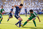 Tomiyasu Takehiro of Japan (L) fights for the ball with Ylyasov Vezirgeldi of Turkmenistan (R) during the AFC Asian Cup UAE 2019 Group F match between Japan (JPN) and Turkmenistan (TKM) at Al Nahyan Stadium on 09 January 2019 in Abu Dhabi, United Arab Emirates. Photo by Marcio Rodrigo Machado / Power Sport Images