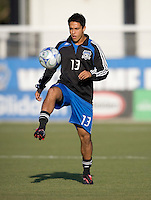 22 May 2008:  Adam Sloustcher of the Earthquakes warms up before the game against the Dynamo at Buck Shaw Stadium in San Jose, California.   San Jose Earthquakes defeated Houston Dynamo, 2-1.