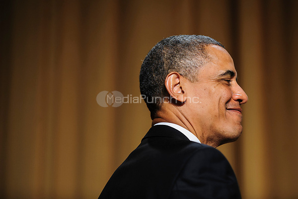 United States President Barack Obama during the White House Correspondents' Association (WHCA) annual dinner in Washington, District of Columbia, U.S., on Saturday, April 27, 2013.<br /> Credit: Pete Marovich / Pool via CNP /MediaPunch