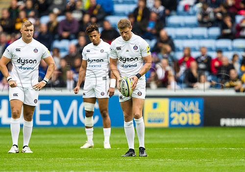 1st October 2017, Ricoh Arena, Coventry, England; Aviva Premiership rugby, Wasps versus Bath Rugby;   Rhys Priestland kicks from the centre spot to start the game