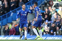 Eden Hazard celebrates scoring Chelsea's opening goal with Emerson during Chelsea vs Wolverhampton Wanderers, Premier League Football at Stamford Bridge on 10th March 2019