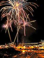 2006: Fireworks seen over Coors Field after a Colorado Rockies baseball game in Denver, Colorado.