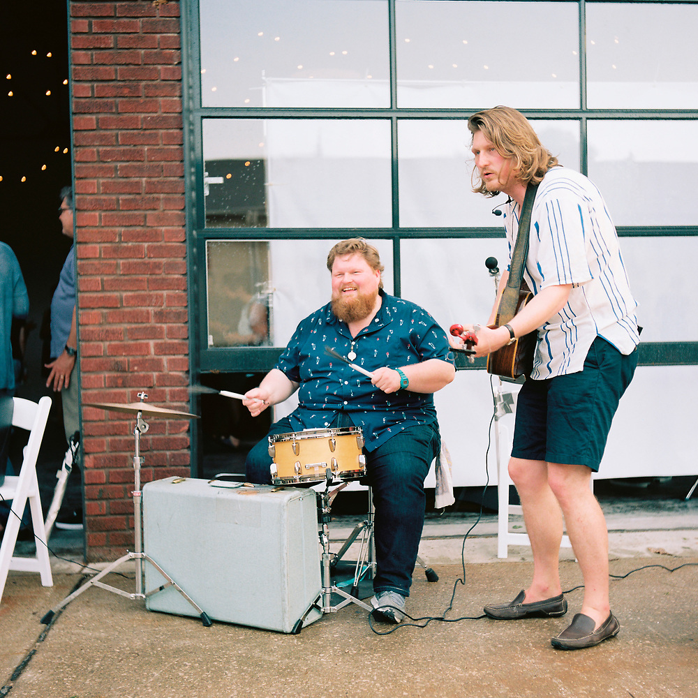 Addison Rogers, left, and Lewis Rogers of Busman's Holiday perform at the Bloomington Gallery Walk Block Party on Friday, June 1, 2018. (Photo by James Brosher)