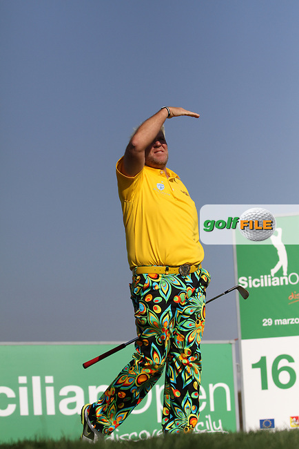 John Daly (USA) on the 16th tee on Day 2 of the 2012 Sicilian Open at Verdura Golf and Spa Resort, Sicily, Italy....(Photo Jenny Matthews/www.golffile.ie)