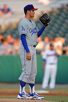 Chattanooga Lookouts starting pitcher Zach Lee #18 waits for the catchers signals during a game against the Tennessee Smokies at Smokies Park on April 10, 2013 in Kodak, Tennessee. The Lookouts won 6-2. (Tony Farlow/Four Seam Images).
