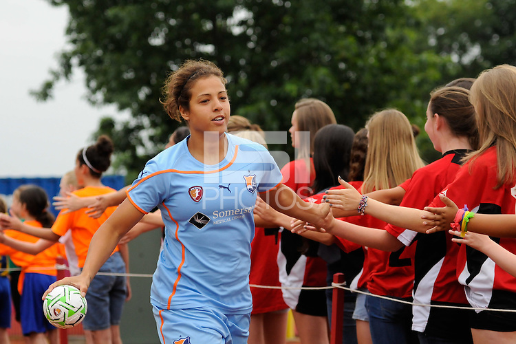 Casey Nogueira (27) of Sky Blue FC greets fans before the match. Sky Blue FC and the Boston Breakers played to a 0-0 tie during a Women's Professional Soccer (WPS) match at Yurcak Field in Piscataway, NJ, on June 12, 2011.