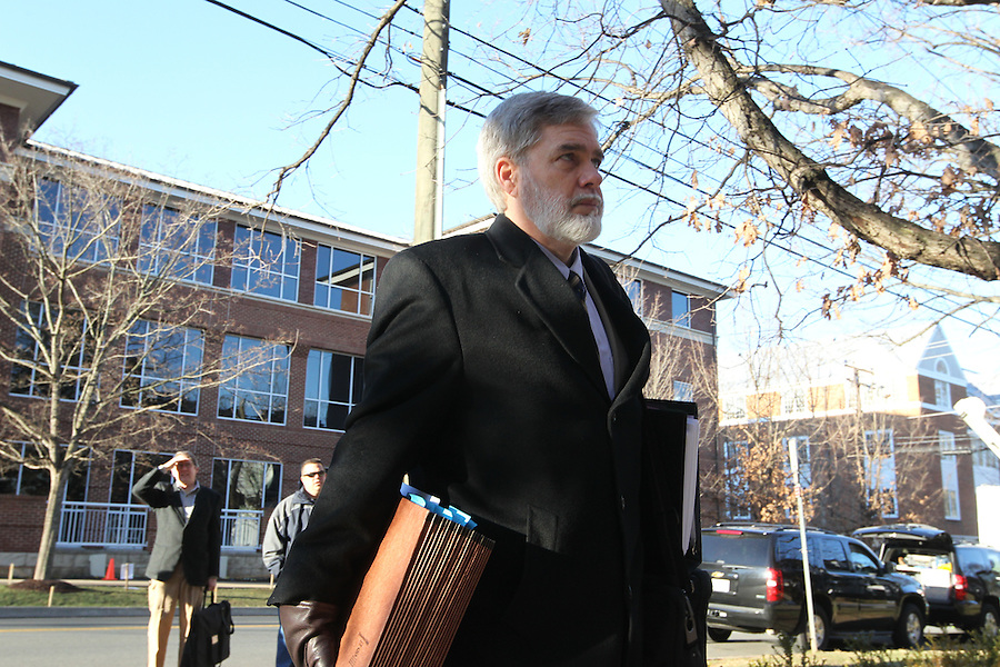 CHARLOTTESVILLE, VA - FEBRUARY 12: Commonwealth attorneys Dave Chapman enters the Charlottesville Circuit courthouse for the George Huguely trial. Huguely was charged in the May 2010 death of his girlfriend Yeardley Love. She was a member of the Virginia women's lacrosse team. Huguely pleaded not guilty to first-degree murder. (Credit Image: © Andrew Shurtleff