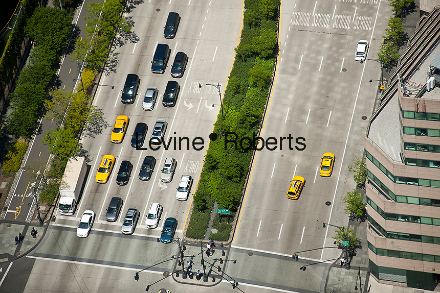 Traffic on the West Side Highway (West Street) seen from One World Trade Center in New York on Monday, April 30, 2012. (© Richard B. Levine)