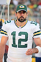 August 26 2016: Quarterback Aaron Rogers of the Green Bay Packers before a 21-10 victory over the San Francisco 49ers at Levi's Stadium in Santa Clara, Ca.
