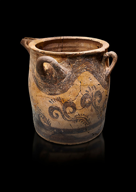 Minoan small bridge spouted jars decorated with lilies, Machlos 1500-1400 BC; Heraklion Archaeological  Museum, black background.