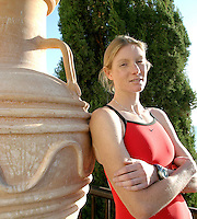 29 OCT 2003 - PAPHOS, CYPRUS - Leanda Cave takes a break during the British Triathlon Elite Training Camp. (PHOTO (C) NIGEL FARROW)