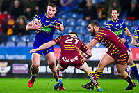 Picture by Alex Whitehead/SWpix.com - 08/02/2018 - Rugby League - Betfred Super League - Huddersfield Giants v Warrington Wolves - John Smith's Stadium, Huddersfield, England - Warrington's Jack Hughes is tackled by Huddersfield's Adam O'Brien.