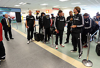 Wednesday 07 August 2013<br /> Pictured L-R: Footballers Gerhard Tremmel, Ki Sung Yueng, Ki Sung Yueng and Michu queuing to check in at Cardiff Airport.<br /> Re: Swansea City FC travelling to Sweden for their Europa League 3rd Qualifying Round, Second Leg game against Malmo.