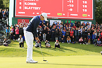 Matthew Fitzpatrick (ENG) sinks his putt to win the tournament after a 3 hole playoff with Scott Hend (AUS) at the  end of Sunday's Final Round of the 2017 Omega European Masters held at Golf Club Crans-Sur-Sierre, Crans Montana, Switzerland. 10th September 2017.<br /> Picture: Eoin Clarke | Golffile<br /> <br /> <br /> All photos usage must carry mandatory copyright credit (&copy; Golffile | Eoin Clarke)