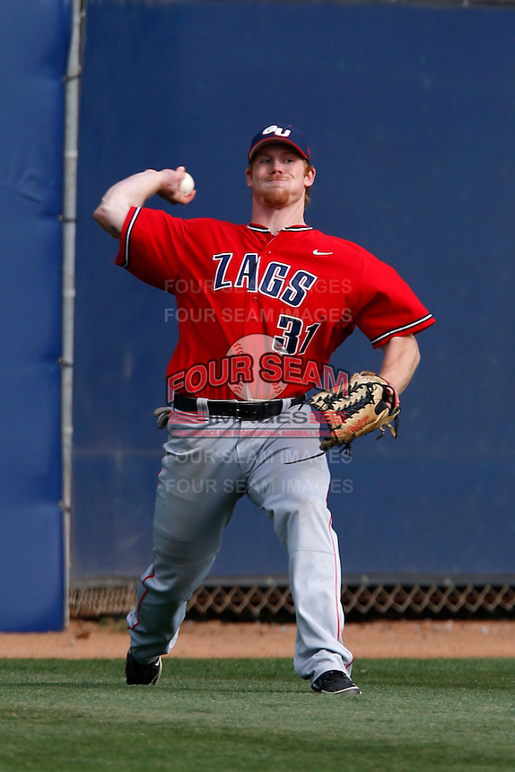 Brock Slavin #31 of the Gonzaga Bulldogs during a game against the Loyola Marymount Lions at Page Stadium on March 28, 2013 in Los Angeles, California. (Larry Goren/Four Seam Images)