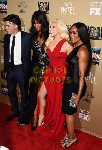 LOS ANGELES, CA - OCTOBER 03: (L-R) Actor Finn Wittrock, model/actress Naomi Campbell, singer/actress Lady Gaga and actress Angela Bassett arrive at the premiere screening of FX's 'American Horror Story: Hotel' at Regal Cinemas L.A. Live on October 3, 2015 in Los Angeles, California.<br /> CAP/ROT/TM<br /> &copy;TM/ROT/Capital Pictures