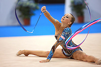 Liubov Charkashina of Belarus performs with ribbon during seniors All-Around competition at 2008 European Championships at Torino, Italy on June 6, 2008.  Photo by Tom Theobald.