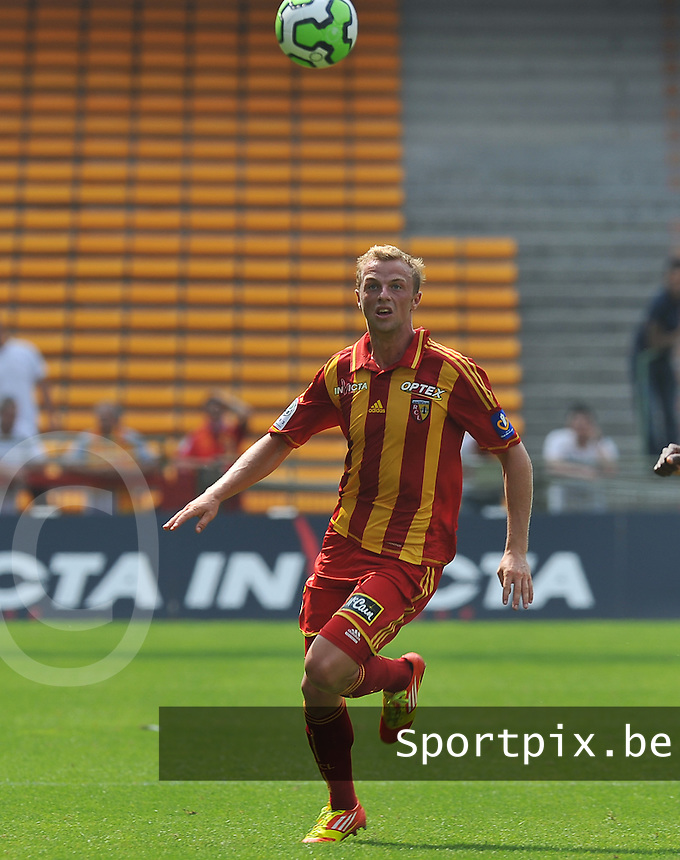 20120728 - LENS , FRANCE : RC Lens'  DAVID POLLET pictured during the soccer match between Racing Club de LENS and Le Mans , on the first matchday in the French Ligue 2 at the Stade Bollaert Delelis stadium , Lens . Saturday 28 July 2012  . PHOTO DAVID CATRY