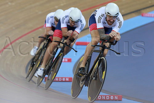 03.03.2016. Lee Valley Velo Centre, Lonodn England. UCI Track Cycling World Championships Mens Team Pursuit.  Team Grande Bretagne - GBR - Great Britain<br />