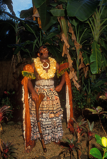 Chieftain (model released) at Fijian village at the Polynesian Cultural Center, Laie, Oahu Island, Hawaii, United States..