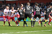 Stevenage corner during Stevenage vs Cambridge United, Sky Bet EFL League 2 Football at the Lamex Stadium on 14th April 2018