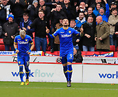 10th February 2018, Bramall Lane, Sheffield, England; EFL Championship football, Sheffield United versus Leeds United; Pierre-Michel Lasogga of Leeds United celebrates scoring the equalising goal in the 46th minute making it 1-1