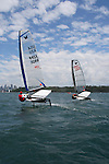Moth class at the Sydney International Regatta 2008..Held annually the Sydney International Regatta (SIRs)  has been categorized by ISAF as a Grade 1 event of the Laser, Laser Radial, Finn, 470, 49er and RS:X. A Grade 2 event for the Ynglings, however this year will include the Yngling Australian Championships..Other classes invited include the Moth, 420, 29er Laser 4.7 and the A Class Catamaran. This year the A Class Catamaran is holding their World Championships at Belmont, NSW and the SIRs will be a Pre Worlds regatta for the Class.  Entries are restricted to 25 and A Class competitors are invited to enter through their association.