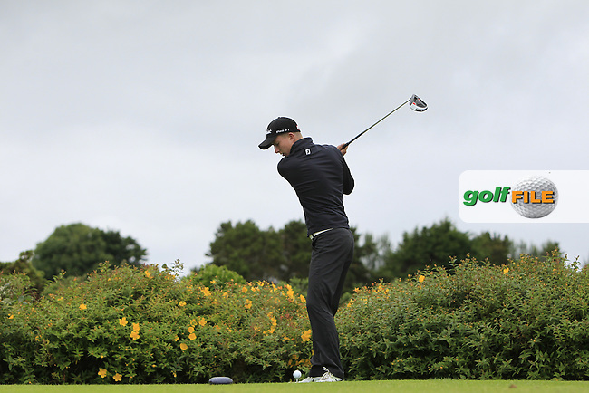 Conor McDonald (Lurgan) on the 18th tee during R1 of the 2016 Connacht U18 Boys Open, played at Galway Golf Club, Galway, Galway, Ireland. 05/07/2016. <br /> Picture: Thos Caffrey | Golffile<br /> <br /> All photos usage must carry mandatory copyright credit   (&copy; Golffile | Thos Caffrey)