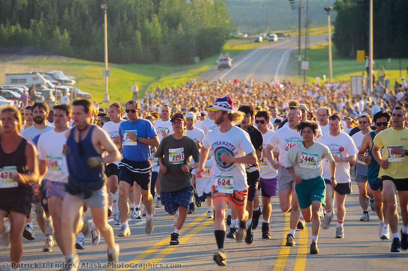 Start of the 1995 midnight sun fun run, celebrating summer solstice, Fairbanks, Alaska.